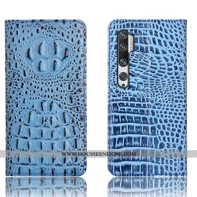 Coque Xiaomi Mi Note 10 Cuir Véritable Protection Téléphone Portable Housse Étui Petit Bleu