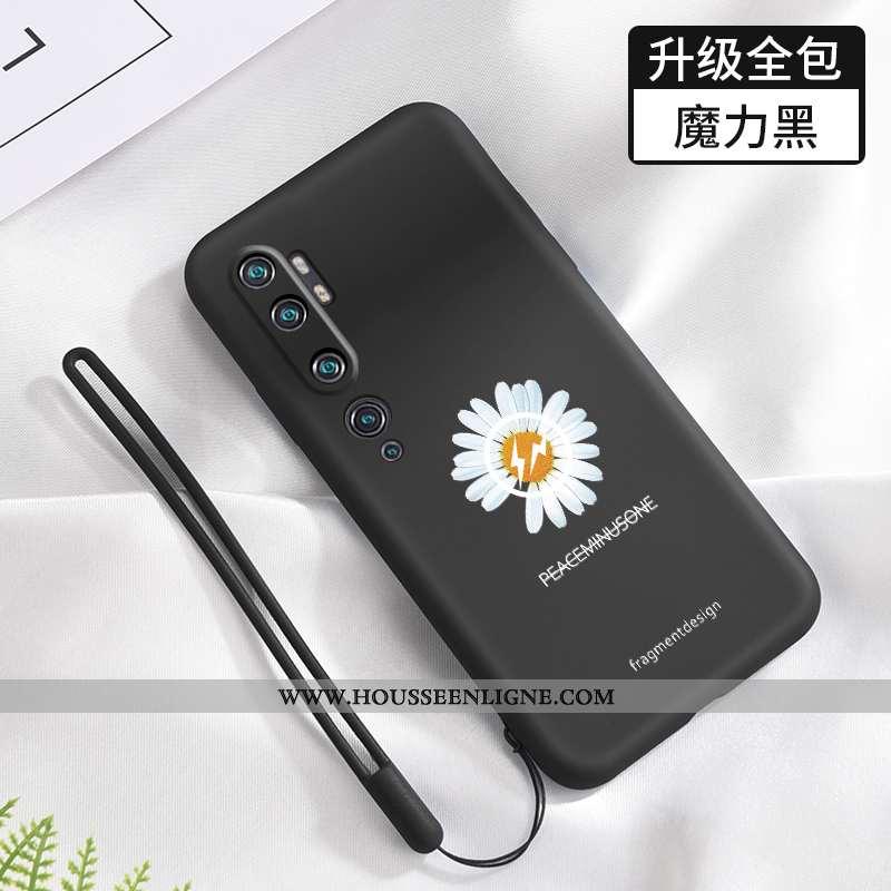Coque Xiaomi Mi Note 10 Fluide Doux Silicone Petit Noir Petite Marguerite Net Rouge Téléphone Portab