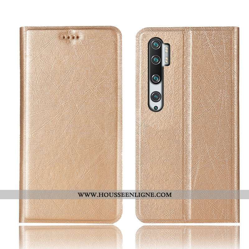 Coque Xiaomi Mi Note 10 Protection Cuir Incassable Rouge Étui Soie Or Doré