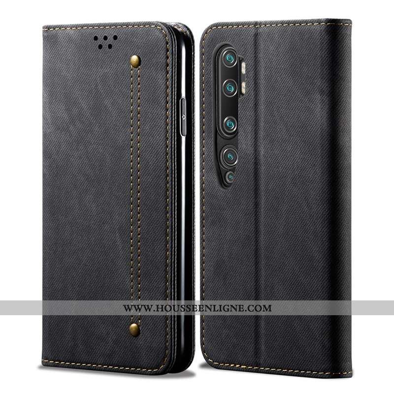 Coque Xiaomi Mi Note 10 Protection Cuir Véritable Téléphone Portable Tendance Incassable Étui Noir