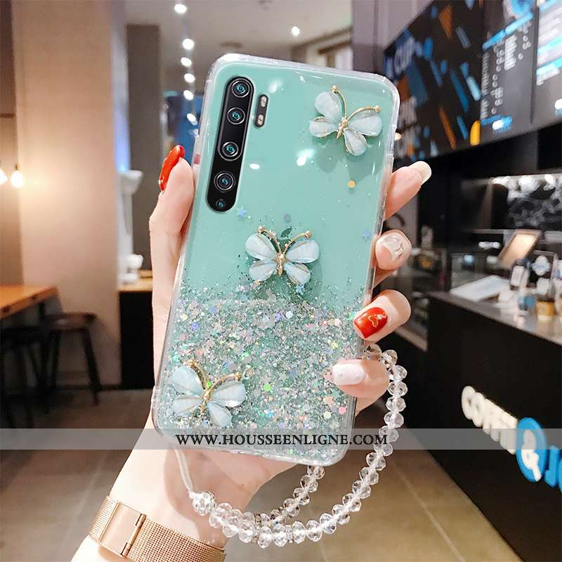Coque Xiaomi Mi Note 10 Silicone Protection Étui Personnalité Fluide Doux Papillon Net Rouge Verte