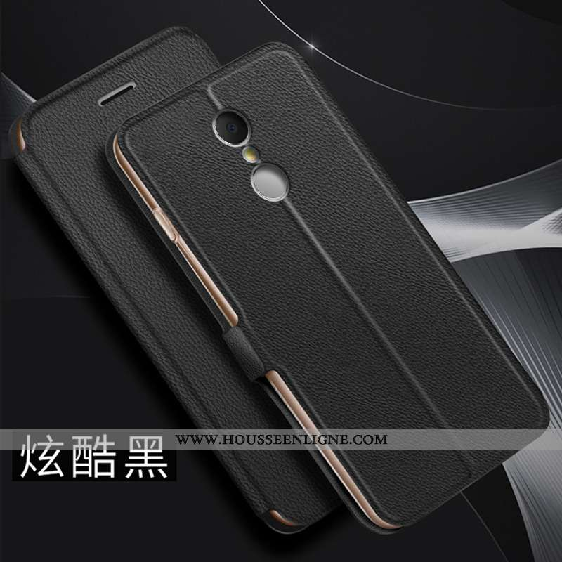 Coque Xiaomi Redmi 5 Cuir Fluide Doux Rouge Protection Étui Téléphone Portable Incassable Noir