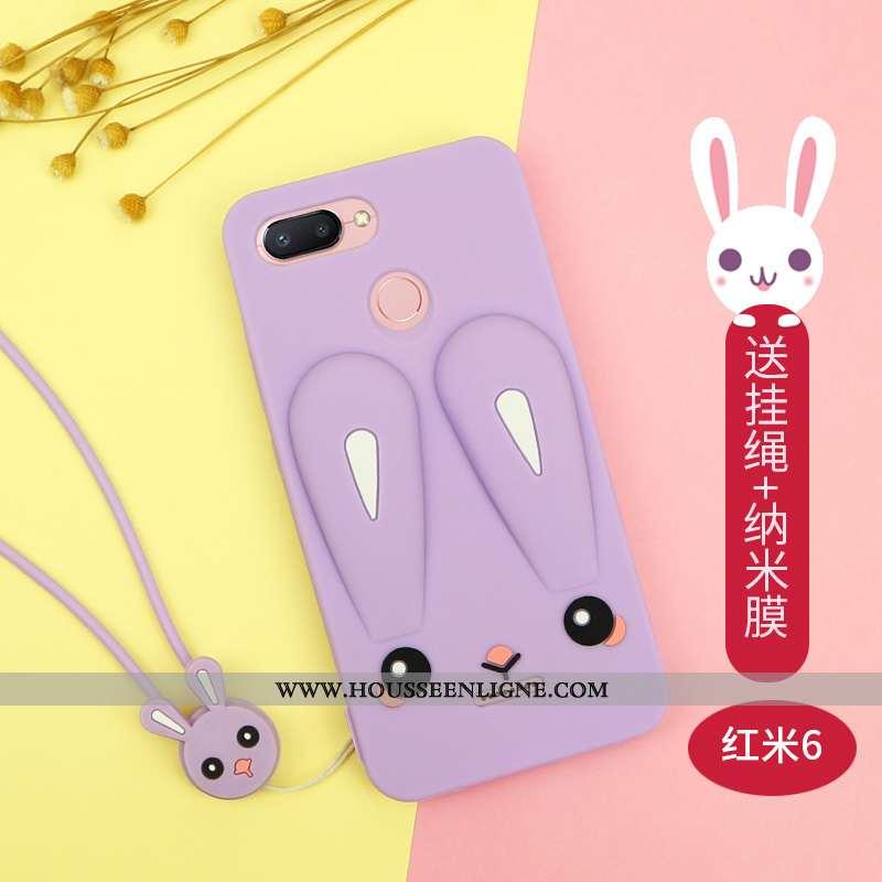 Coque Xiaomi Redmi 6 Charmant Tendance Rouge Petit Net Rouge Silicone Violet