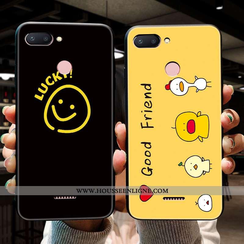 Coque Xiaomi Redmi 6 Délavé En Daim Personnalité Téléphone Portable Simple Créatif Jaune Silicone