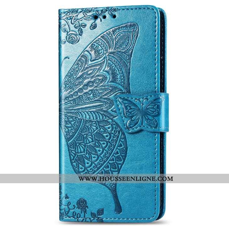 Coque Xiaomi Redmi 6a Cuir Protection Carte Support Bleu Étui Clamshell