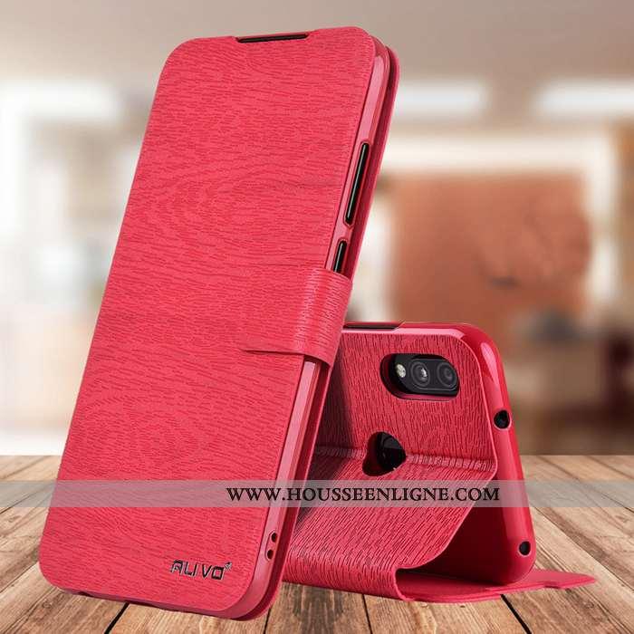 Coque Xiaomi Redmi 7 Fluide Doux Silicone Rouge Téléphone Portable Cuir Protection