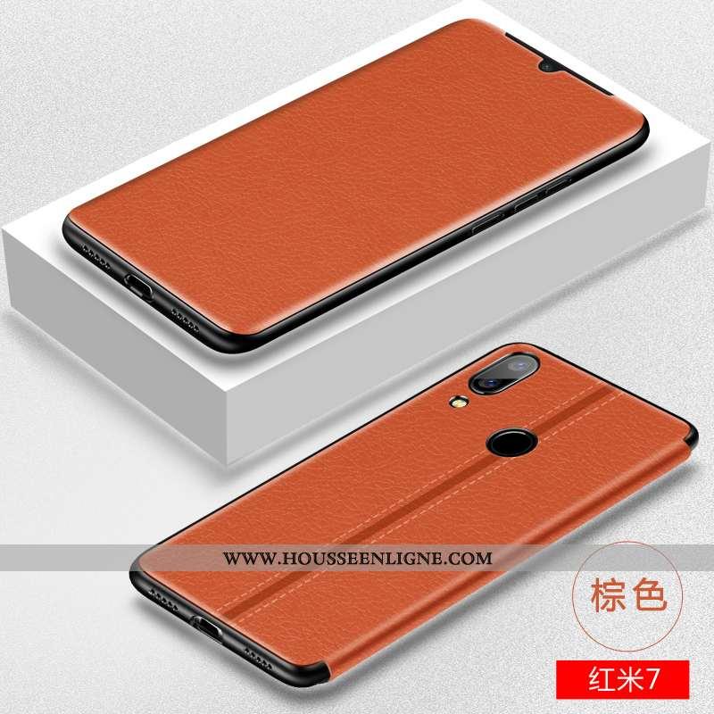 Coque Xiaomi Redmi 7 Tendance Cuir Protection Créatif Clamshell Téléphone Portable Incassable Marron