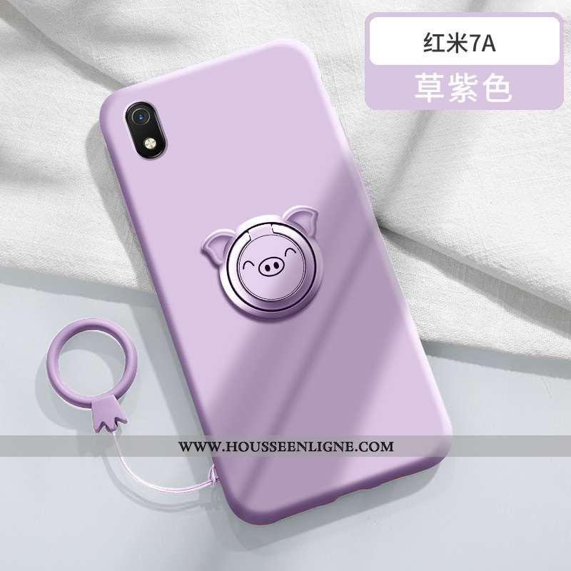 Coque Xiaomi Redmi 7a Personnalité Créatif Légère Tendance Anneau Rouge Silicone Violet