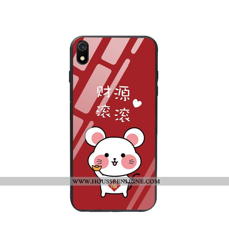 Coque Xiaomi Redmi 7a Verre Charmant Nouveau Protection Téléphone Portable Rouge Étui