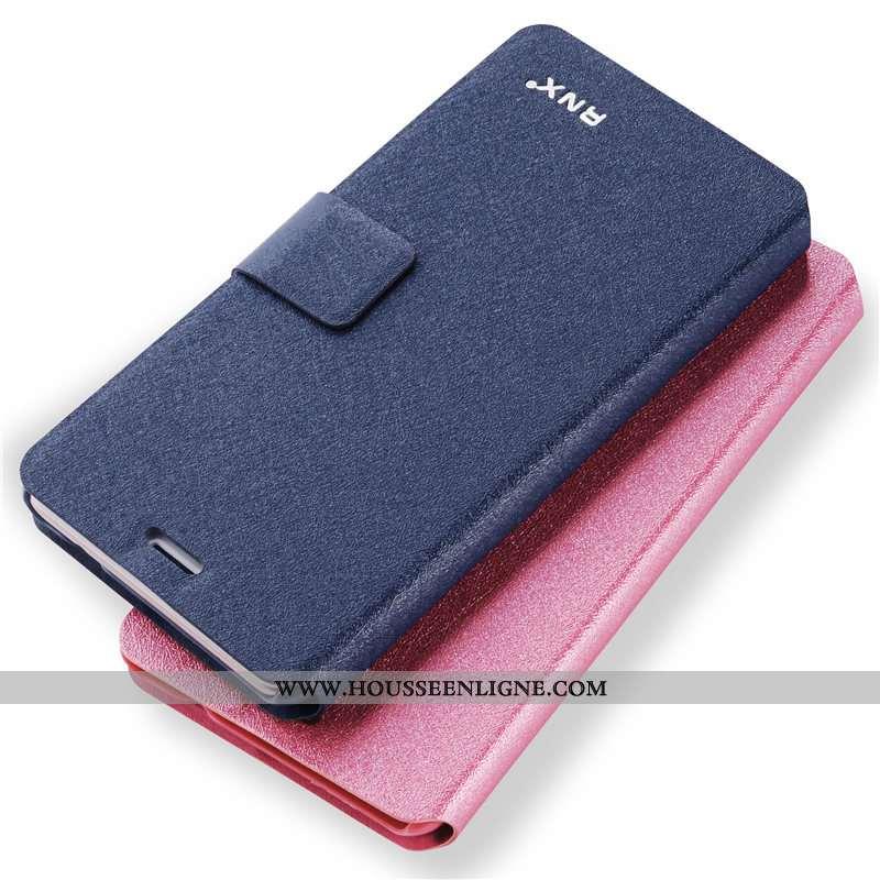 Coque Xiaomi Redmi 8a Cuir Fluide Doux Tout Compris Petit Rouge Bleu Marin Bleu Foncé