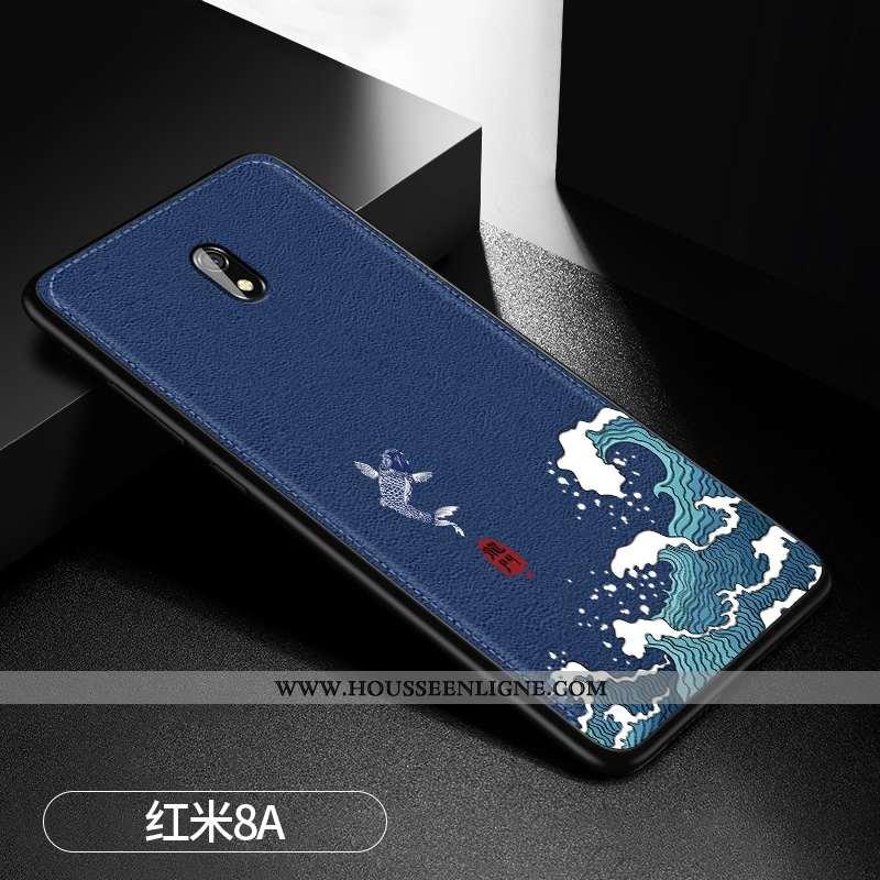 Coque Xiaomi Redmi 8a Modèle Fleurie Fluide Doux Bleu Marin Téléphone Portable Cuir Tendance Bleu Fo