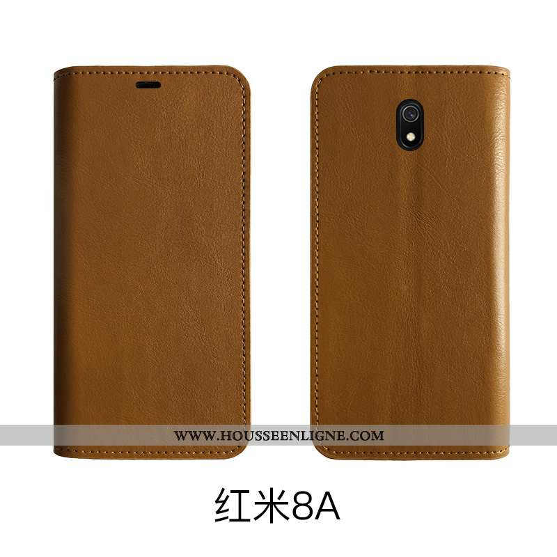 Coque Xiaomi Redmi 8a Protection Cuir Véritable Bovins Incassable Tout Compris Rouge Cuir Marron
