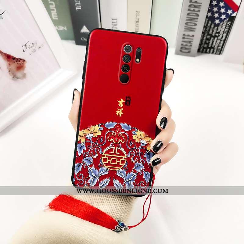 Coque Xiaomi Redmi 9 Délavé En Daim Personnalité Rouge Créatif Incassable Silicone Imprimé