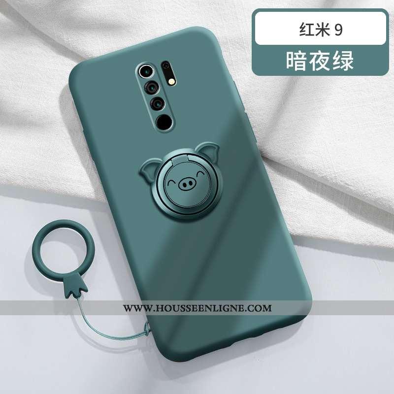 Coque Xiaomi Redmi 9 Tendance Légère Silicone Incassable Téléphone Portable Support Magnétisme Verte