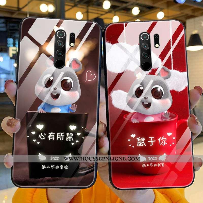 Coque Xiaomi Redmi 9 Verre Personnalité Silicone Créatif Net Rouge Incassable Protection