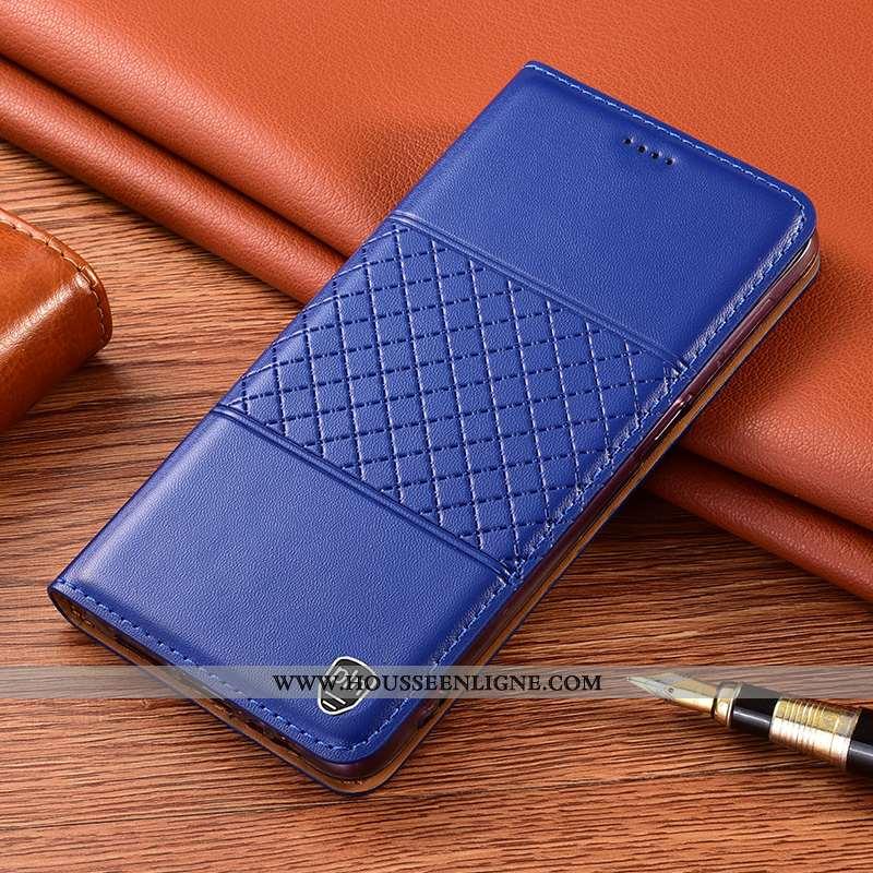 Coque Xiaomi Redmi 9a Protection Cuir Véritable Étui Petit Housse Incassable Téléphone Portable Bleu