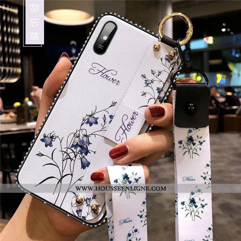 Coque Xiaomi Redmi 9a Protection Délavé En Daim Blanc Charmant Rouge Fleurs Fluide Doux Blanche