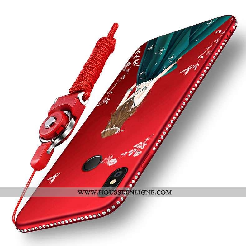Coque Xiaomi Redmi Note 5 Protection Délavé En Daim Rouge Incassable Étui Petit Haute