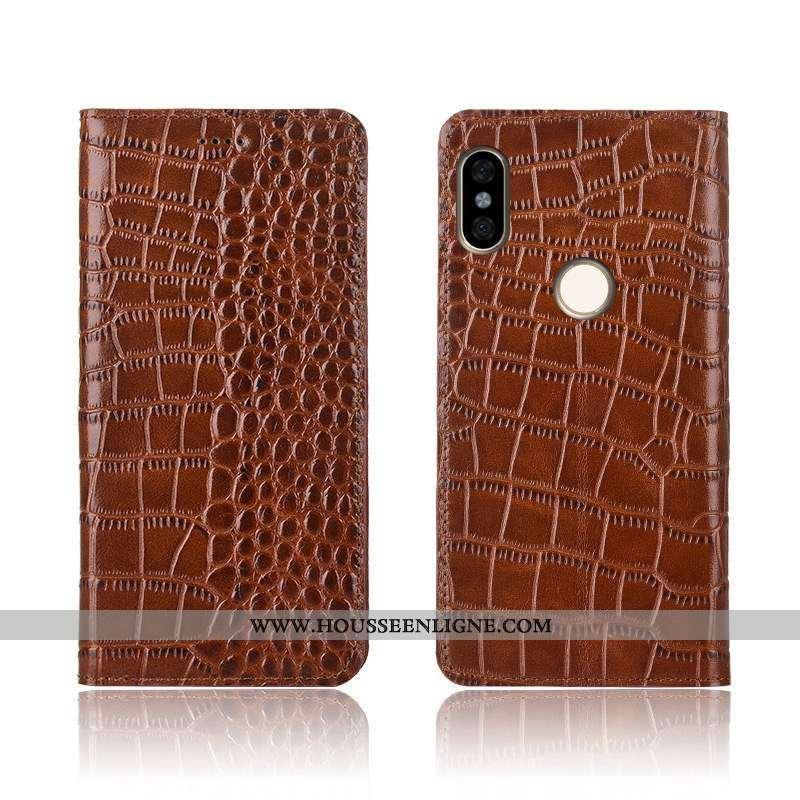 Coque Xiaomi Redmi Note 6 Pro Cuir Véritable Cuir Clamshell Incassable Petit Silicone Protection Mar