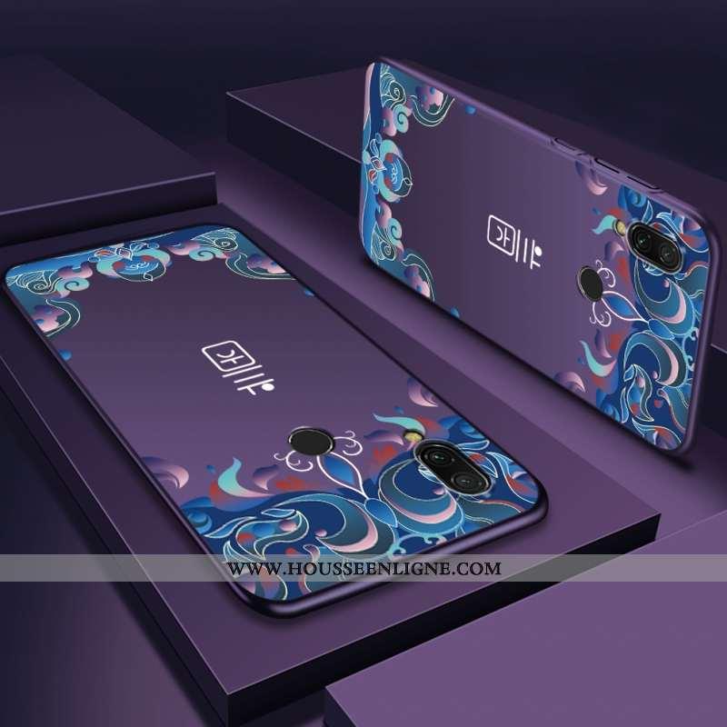 Coque Xiaomi Redmi Note 7 Délavé En Daim Personnalité Difficile Violet Téléphone Portable Rouge