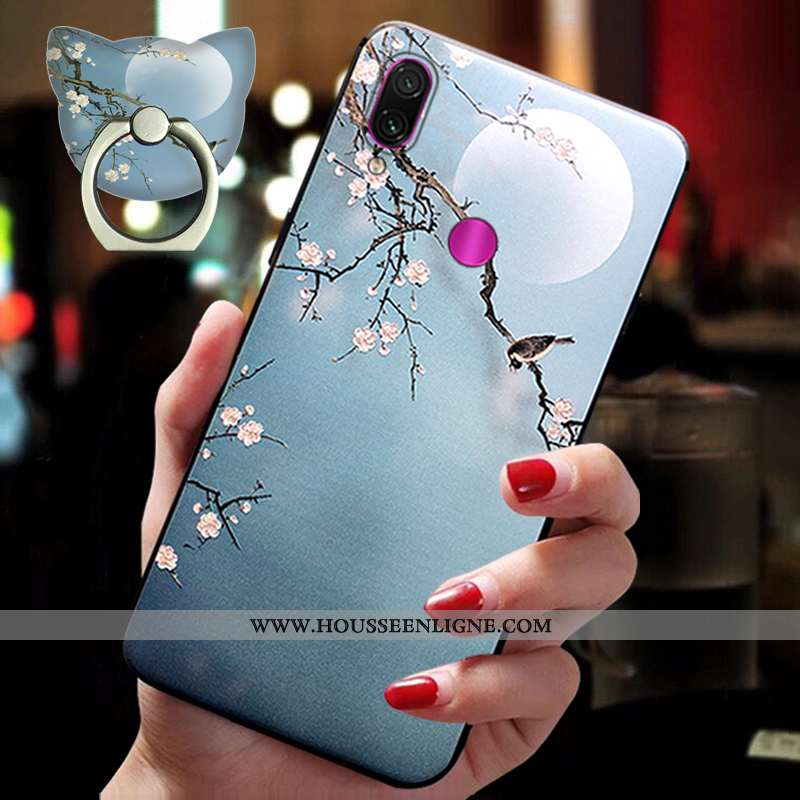 Coque Xiaomi Redmi Note 7 Ornements Suspendus Fluide Doux Bleu Téléphone Portable Silicone Petit Ann