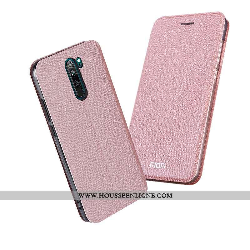 Coque Xiaomi Redmi Note 8 Pro Cuir Silicone Téléphone Portable Rose Rouge Incassable