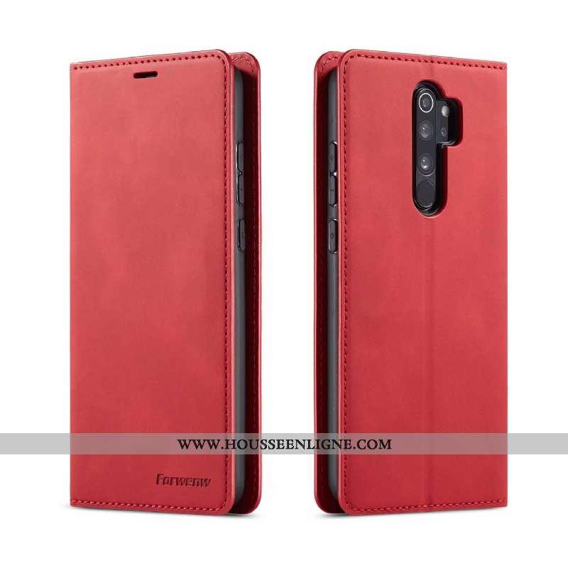 Coque Xiaomi Redmi Note 8 Pro Portefeuille Cuir Fluide Doux Rouge Housse Tout Compris