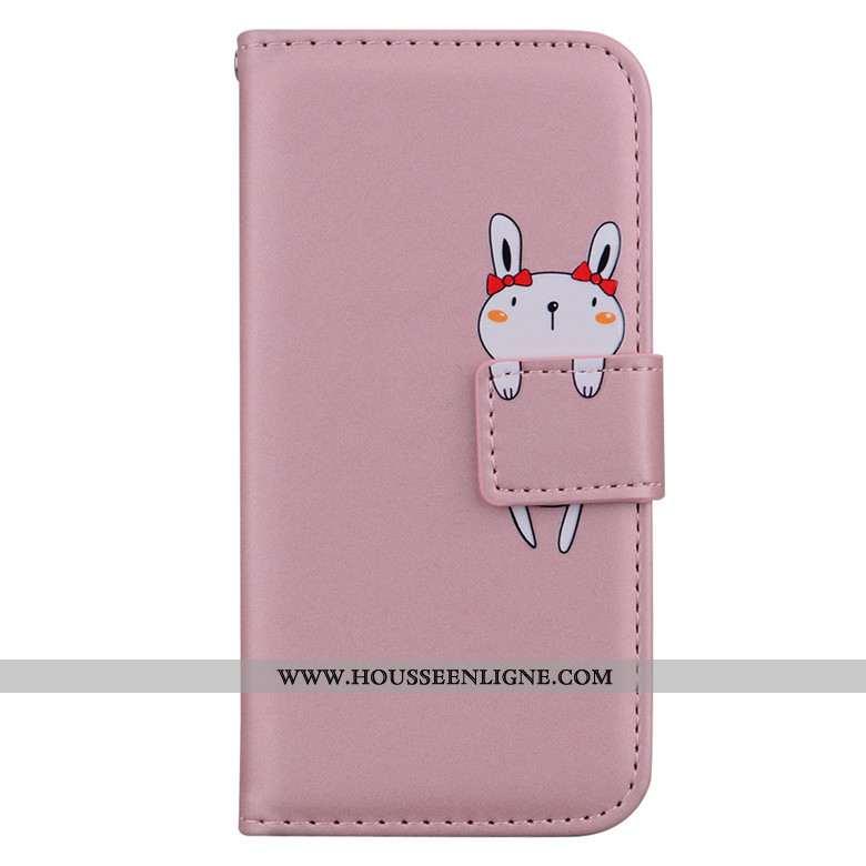 Coque Xiaomi Redmi Note 8 Pro Protection Dessin Animé Étui Téléphone Portable Rose Cuir