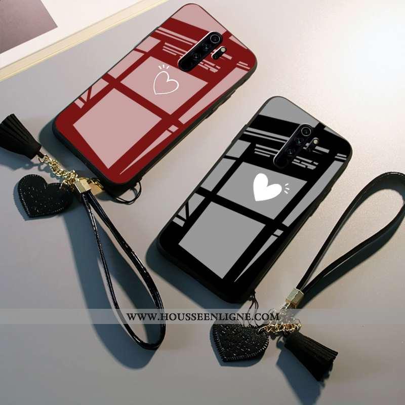 Coque Xiaomi Redmi Note 8 Pro Verre Fluide Doux Miroir Amour Rouge Téléphone Portable Noir