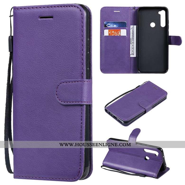 Coque Xiaomi Redmi Note 8t Cuir Protection Couleur Unie Rouge Incassable Étui Housse Violet