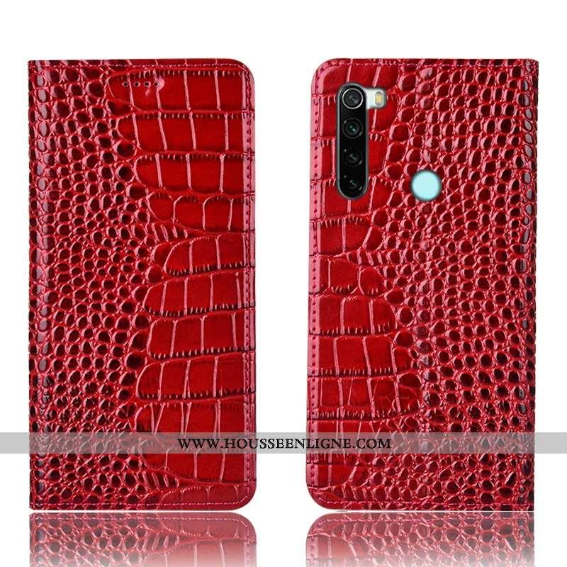 Coque Xiaomi Redmi Note 8t Protection Cuir Véritable Rouge Téléphone Portable Petit Étui Tout Compri