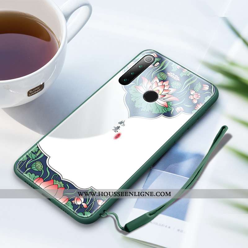 Coque Xiaomi Redmi Note 8t Silicone Protection Rouge Style Chinois Verre Vert Téléphone Portable Ver