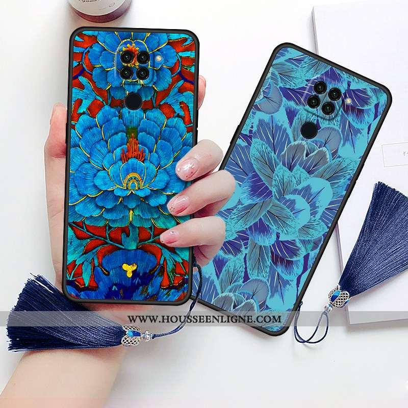 Coque Xiaomi Redmi Note 9 Protection Vintage Amoureux Style Chinois Tout Compris Net Rouge Étui Bleu