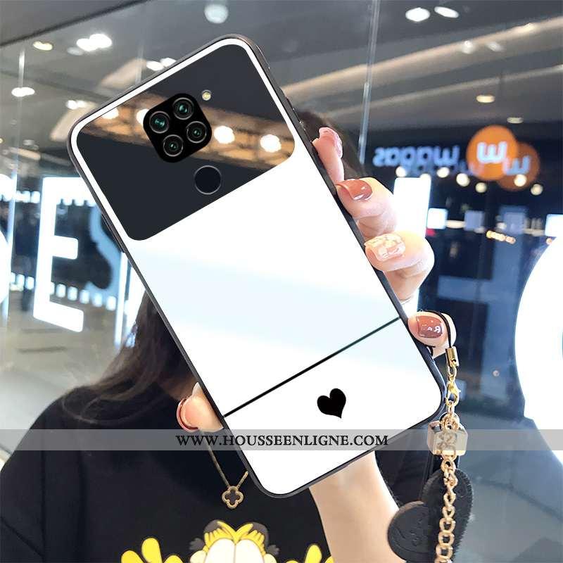 Coque Xiaomi Redmi Note 9 Tendance Mode Étui Tempérer Incassable Amour Miroir Blanche