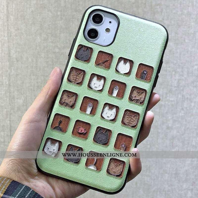Coque iPhone 11 Charmant Ornements Suspendus Dessin Animé Chat Gaufrage Violet Dimensionnel Verte
