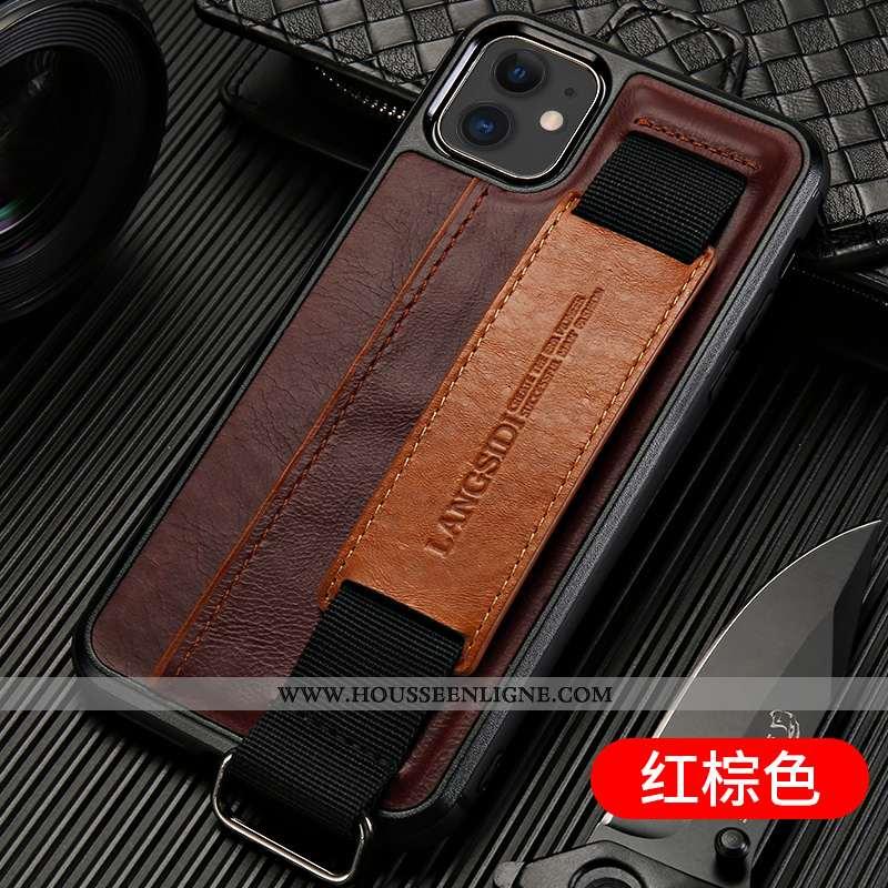 Coque iPhone 11 Cuir Véritable Tendance Bovins Luxe Luxe Téléphone Portable Incassable Marron