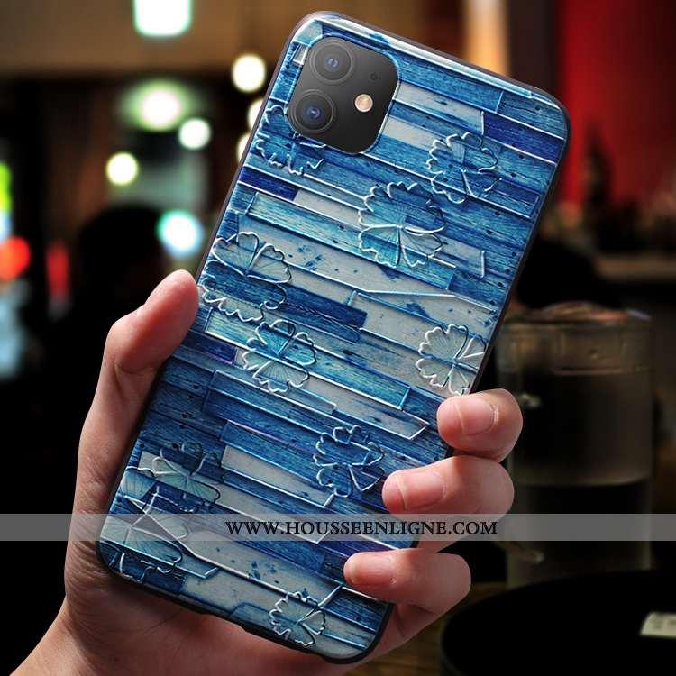 Coque iPhone 11 Fluide Doux Silicone Incassable Net Rouge Créatif Nouveau Délavé En Daim Bleu
