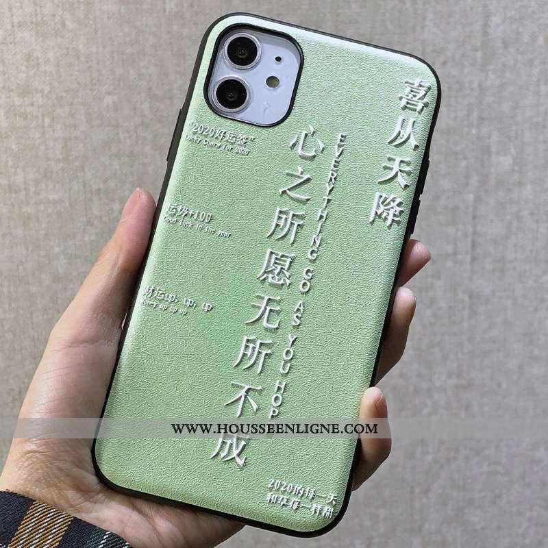 Coque iPhone 11 Gaufrage Personnalité Dimensionnel Simple Téléphone Portable Soie Mulberry Créatif V
