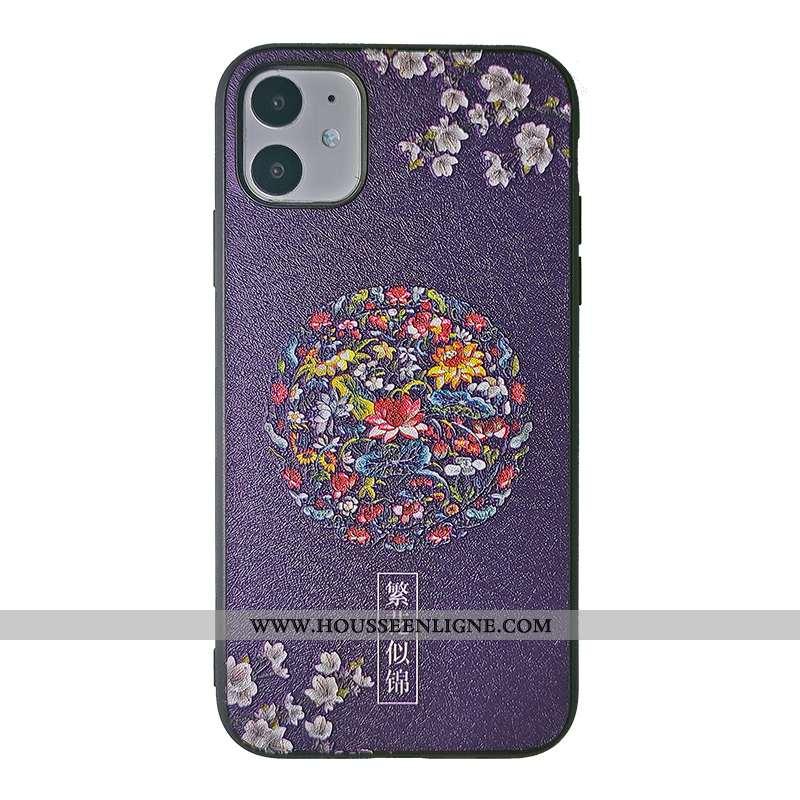 Coque iPhone 11 Gaufrage Tendance Téléphone Portable Soie Mulberry Palais Orange