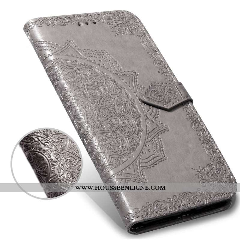 Coque iPhone 11 Gaufrage Vintage Tout Compris Téléphone Portable Incassable Housse Cuir Gris