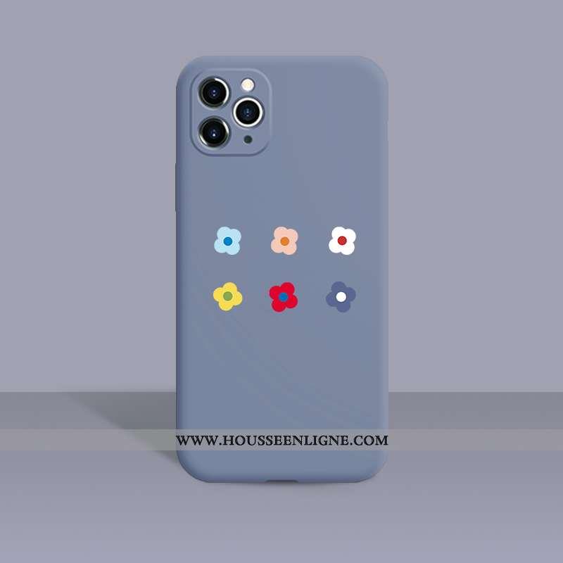 Coque iPhone 11 Pro Créatif Tendance Délavé En Daim Téléphone Portable Silicone Incassable Vent Bleu
