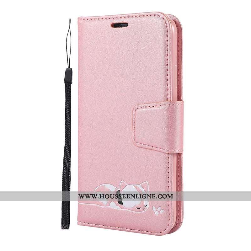 Coque iPhone 11 Pro Dessin Animé Cuir Téléphone Portable Rose Étui Housse