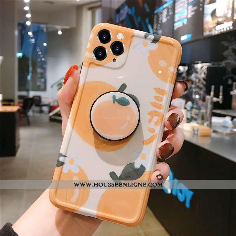 Coque iPhone 11 Pro Fluide Doux Silicone Fruit Créatif Tendance Étui Protection Orange