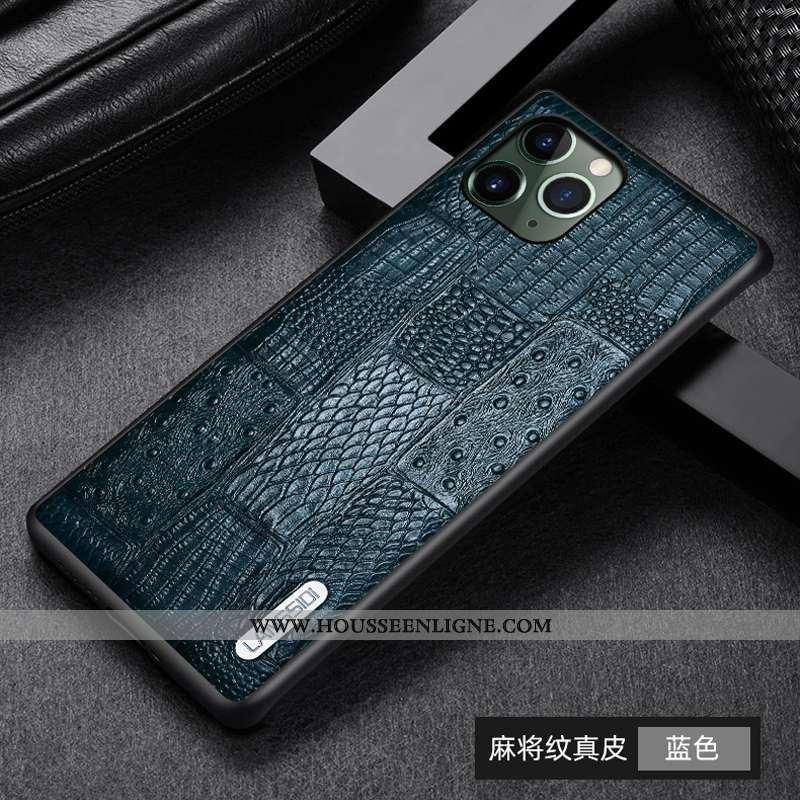 Coque iPhone 11 Pro Max Légère Cuir Téléphone Portable Tout Compris Business Luxe Bleu
