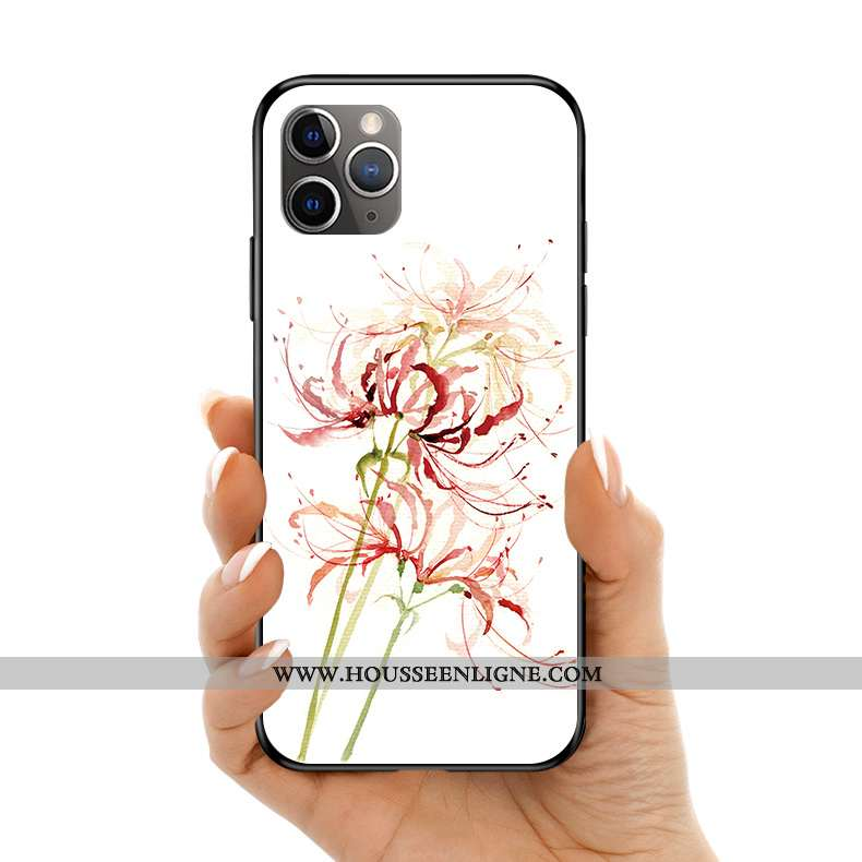 Coque iPhone 11 Pro Max Protection Verre Silicone Téléphone Portable Style Chinois Art Fleur Blanche