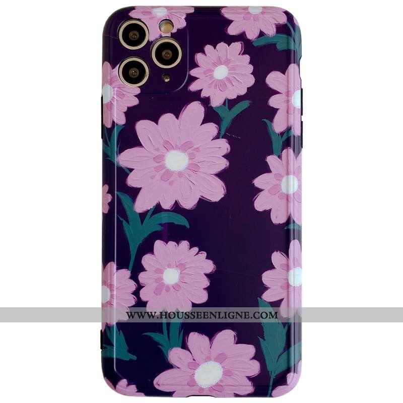 Coque iPhone 11 Pro Max Silicone Protection Tout Compris Créatif Vent Incassable Fleurs Violet