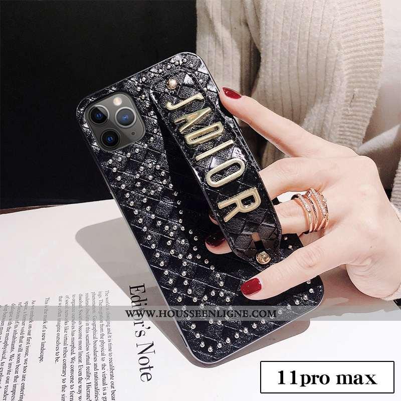 Coque iPhone 11 Pro Max Tendance Cuir Personnalité Incassable Créatif Noir
