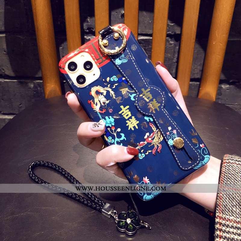 Coque iPhone 11 Pro Ornements Suspendus Protection Étui Téléphone Portable Bleu Style Chinois