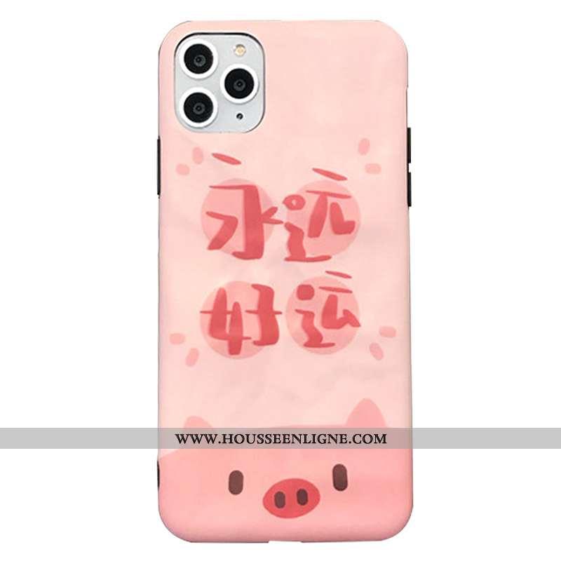 Coque iPhone 11 Pro Personnalité Silicone Plissé Étui Amoureux Téléphone Portable Délavé En Daim Ros