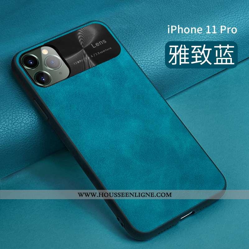 Coque iPhone 11 Pro Protection Ultra Bleu Tendance Net Rouge Cuir